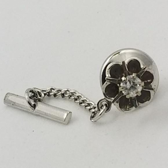 76b802eb7d42 14K WHITE GOLD DIAMOND Flower Tie Tack Pin 3.4mm .  M_5b185598534ef9e28274f17e
